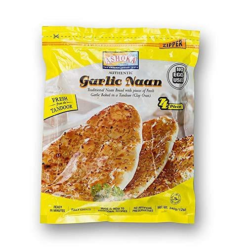 Tandoori Naan, Indisches Brot mit Knoblauch, TK, 340g, 4 St