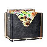 Caja de almacenamiento de discos de vinilo de caoba de madera, autoensamblable, con capacidad para hasta 30 registros naturales, color negro