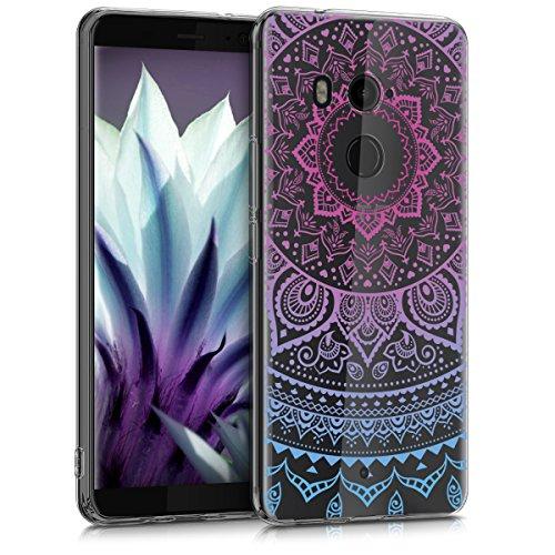 kwmobile Hülle kompatibel mit HTC U11+ / U11 Plus - Hülle Handy - Handyhülle - Indische Sonne Blau Pink Transparent