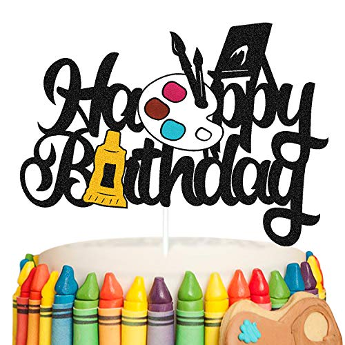 Painting Cake Topper Graffiti Drawing Art Artist Painter Brush Palette Themed Happy Birthday Cake Decoration for Girl Boy Kids Birthday Party Supplies Double Sided