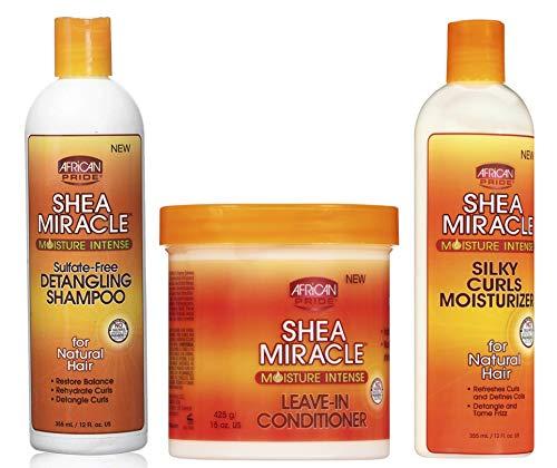 African Pride Shea Miracle | 3er-Set | Entwirrendes Haarshampoo, 355 ml | Leave-In-Spülung, 425 g | Feuchtigkeitsspender für seidige Locken, 355 ml