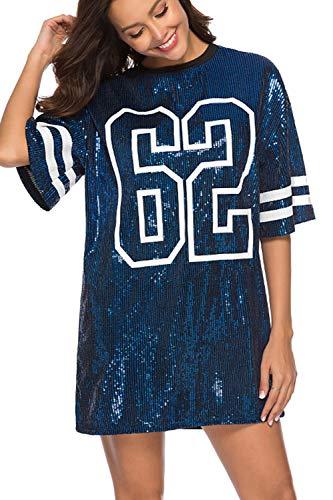 Vestidos Mujer Camiseta Vestido Casual Lentejuelas Verano Vestido Manga Corta Club Mini Vestidos de Fiesta Blue M