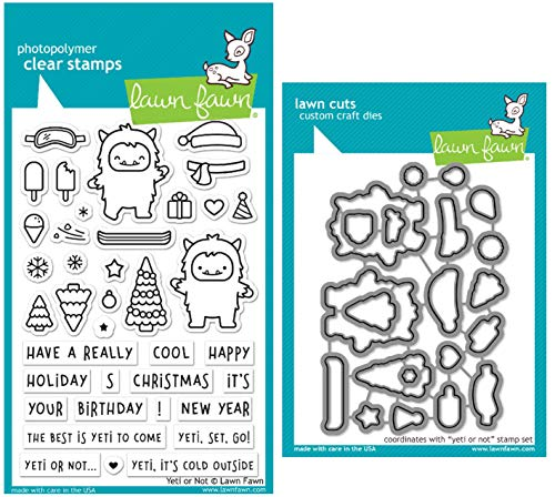 Lawn Fawn Yeti or Not Clear Stamps and Coordinating Dies - Bundle of 2 Items (LF2027, LF2028)