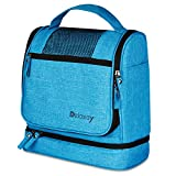 DELAWAY® XXL Kulturbeutel zum Aufhängen [Premium-Qualität] Große Kulturtasche Damen und Herren mit Kofferhalterung und separatem Nassfach (Blau)