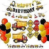 QueenHome Juego de 48 Unidades de decoración para Fiesta de cumpleaños 2020, para niños, Dorado, Rojo y Negro