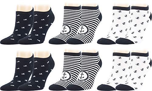 Vitasox Kurze Komfort Baumwoll Sneaker Socken für Damen in verschiedenen Designs, Sommer Sneakersocken ohne Naht, Anker & Fisch, geringelt, Weiß Blau gestreift Marine, 6 Paar, 35-38