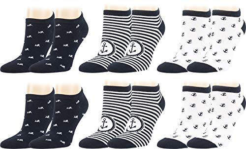 Vitasox Kurze Komfort Baumwoll Sneaker Socken für Damen in verschiedenen Designs, Sommer Sneakersocken ohne Naht, Anker und Fisch, geringelt, Weiß Blau gestreift Marine, 6 Paar, 39-42