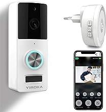 YIROKA Timbre Inalámbrico con Camara, HD 1080P Video Timbre WiFi Videoportero, Detección de Movimiento PIR, IP65 Impermeab...
