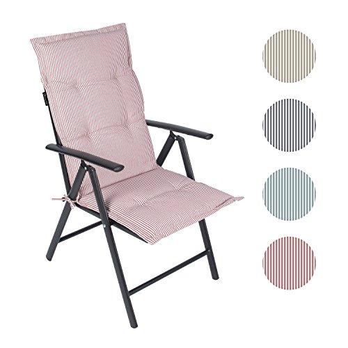 Ommda Coussins Chaises Jardin Lounge Coussins Fauteuil Dossier Haut avec des Liens Lot de 6 Rayure Rose 120x50cm