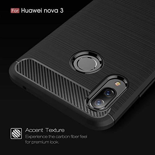 Toppix für Huawei Nova 3 Hülle, Handyhülle TPU Soft Case Silikonhülle mit Carbon Optik [Hitze-Dispersion] Backcover Schutzhülle Cover für Huawei Nova 3 (Schwarz) - 2