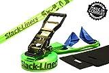 Slack-liners - Set Slackline, 4 pezzi, larghezza 50 mm, lunghezza 25m, con tensionatore a leva, verde chiaro