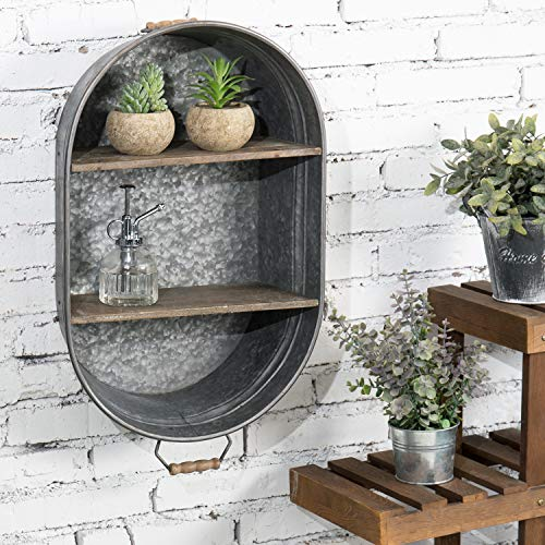 MyGift Rustic Silver Galvanized Metal Tub Style Wall Mounted Storage Organizer Rack with Vintage Wood Display Shelves