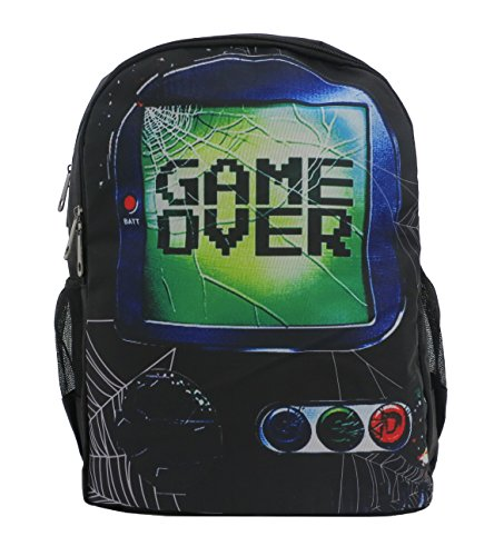 Game Over Black Retro Backpack Rucksack | Game Boy Computer PC Portable Console | School College Travel Gym Skate Bag