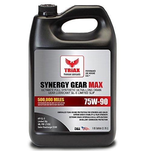 Triax Synergy Gear MAX 75W90 GL-5 Limited Slip - Ultra Long Drain 500k Miles. Manual Transmission, Gear/Differential Lubricant. (1 Gallon)