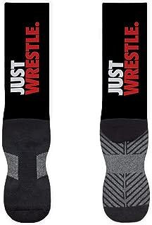 Just Wrestle Mid-Calf Socks | Printed & Woven Socks | Black