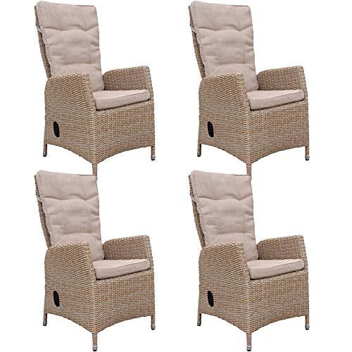 dasmöbelwerk 4er Set Polyrattan Hochlehner mit Sitzpolstern Rattan Stuhl Relax Sessel Gartenmöbel Gartenstuhl PISA Cappuccino