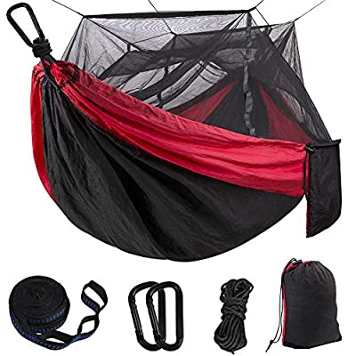 BOBOLINE Hammock Camping Single & Double with Mosquito/Bug Net and Tree Straps & Carabiners | Easy Assembly |Lightweight Portable Parachute Nylon Hammock for Camping, Backpacking,Travel,Red/Black