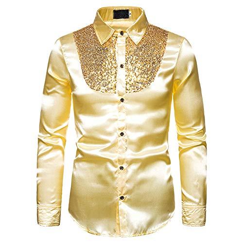 Heren Shiny Shirt Nachtclub Stijlen Lange Mouwen Button Down Jurk Shirts Glanzend Slim Fit Disco Dans Tops Kostuum Party Clubwear Halloween/Cosplay Kostuum