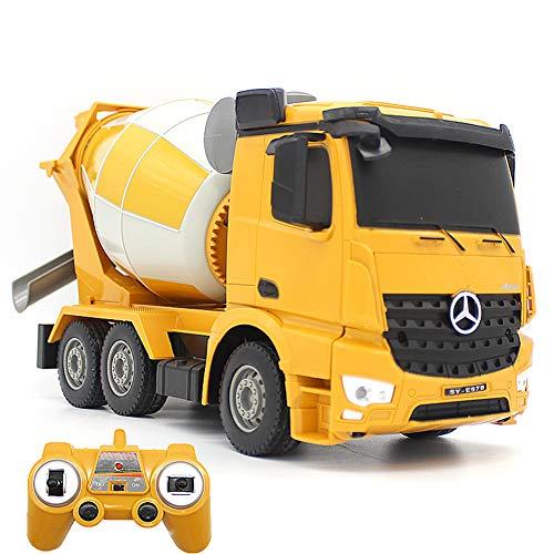 DZAER 360 ° De Rotación RC Camión Volquete con Simulada Luz LED 2.4G RC Cemento Camión Mezclador Remoto De Coches De Juguete Carro De La Ingeniería para Kid