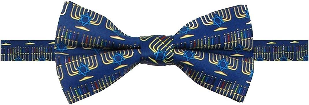 Jacob Alexander Boys' Menorah Candle Lights Happy Hanukkah Star of David Adjustable Pre-Tied Banded Bow Tie