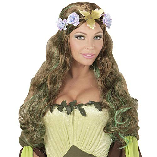 NET TOYS Peluca de fantasa elfa del Bosque con Corona de Flores   Moreno-Verde   Extraordinario Accesorio para Disfraz Cosplay Peluca de Cabello Largo con Corona de Flores para Mujer