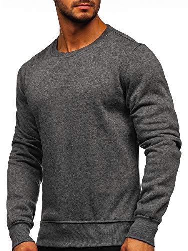 BOLF Herren Sweatshirt Pullover Sweater Pulli ohne Kapuze Langarmshirt Rundhalsausschnitt Farbvarianten Crew Neck Longsleeve Classic Fitness Basic Sport J.Style 2001 Anthrazit XL [1A1]