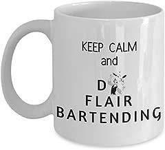 Funny Hobbies 11oz Coffee Mug - Keep Calm and Do Flair Bartending - Unique Inspirational Sarcasm Gift For Men and Women