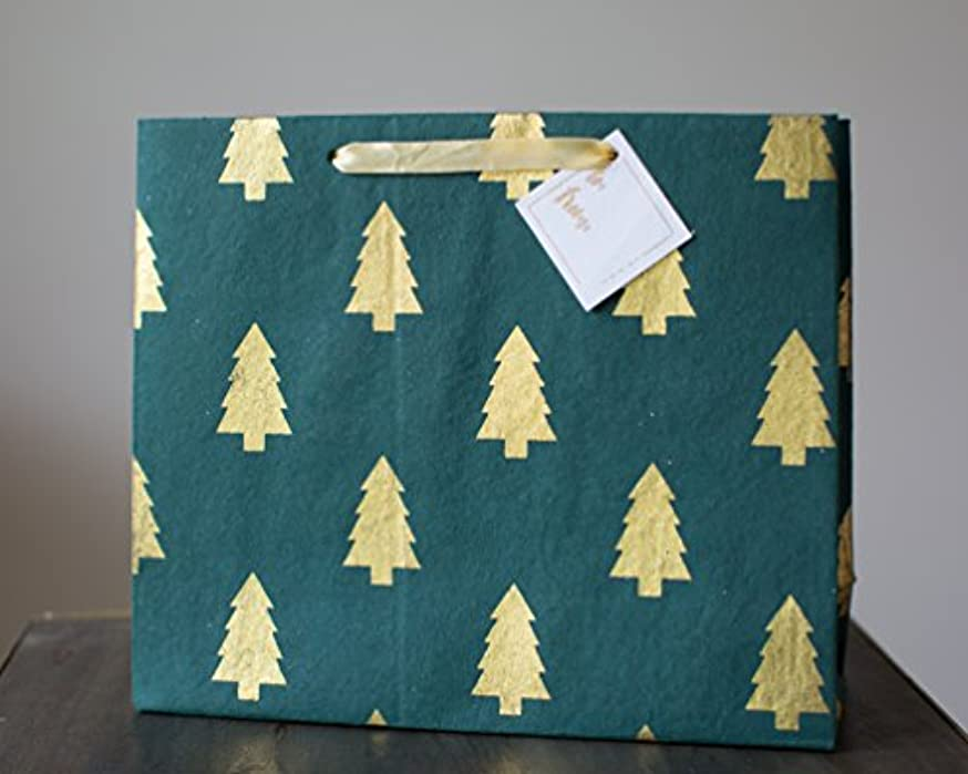 LUXURY COTTON GIFT BAG: GREEN & GOLD TREE (Set Of 3)