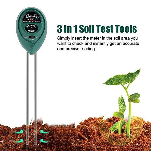 Cikonielf 3 in 1 Bodentestkit Bodenfeuchtemessgerät Für Außenpflanzen, Gärten und Rasenflächen im Freien Multifunktion