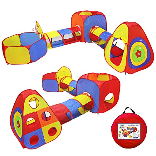 Yoobe Kids Play Tents Jungle Gym w/ Pop Up Tents, Tunnels, and Basketball Pit for Boys, Girls, Babies, and Toddlers with Carrying Case for Indoor & Outdoor Use