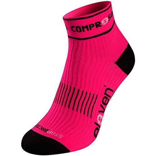 Eleven Luca Kompressionssocke | Kompressionssocken | Laufsocken | Compression Socks | Sportsocken | Damen | Herren zum Radfahren, Laufen, Triathlon, Running und Wandern (Neon pink, M-L (EU 39-45))