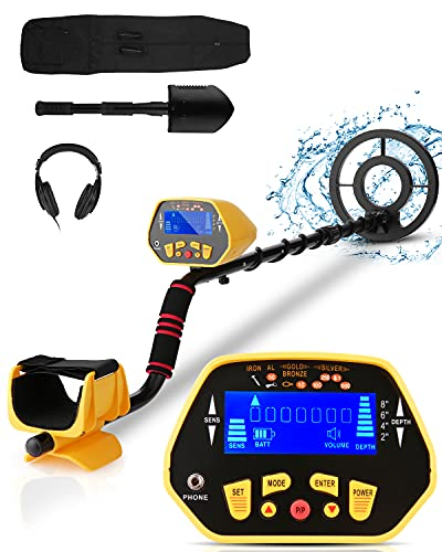 Professional Metal Detector for Adults & Kids, High Accuracy Adjustable Waterproof Metal Detector with LCD Display, All Metal &Discrimination & Pinpoint Mode, 8.7 Inch Lightweight Search Coil