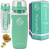 Hydracy Bottiglia con Infusore per Acqua Aromatizzata alla Frutta con Esclusiva Sacca Isolante Antitraspirante - 1Litro - Senza BPA - Perfetta per Depurare l'organismo, per Gli e per Sport - Verde