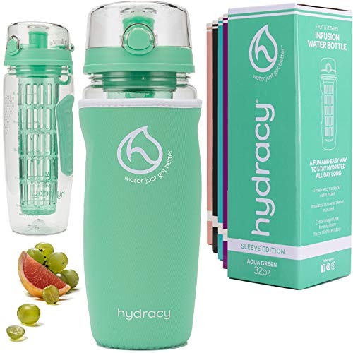 Hydracy Fruit Infuser Water Bottle - 32 oz Sports Bottle - Insulating Sleeve, Time Marker & Full Length Infusion Rod + 27 Fruit Infused Water Recipes eBook Gift - Aqua Green