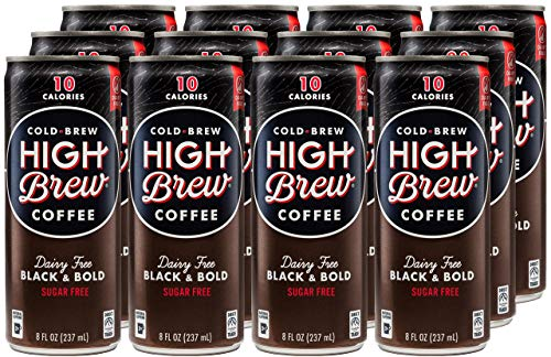 High Brew Cold Brew Coffee - Black & Bold, 8 Fl Oz (Pack of 12)