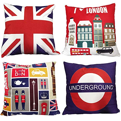 ZBW Impex - Pack of 4 Super Soft Velvet London Themed Square Cushion Covers Union Jack Decorative Pillowcase For Home Sofa Bedroom Living Room 18 x 18 inch