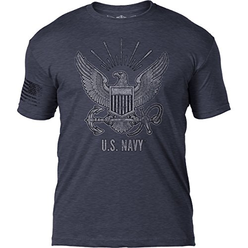 7.62 Design US Navy Distressed Patriotic Mens T Shirt,Heather Navy,Large