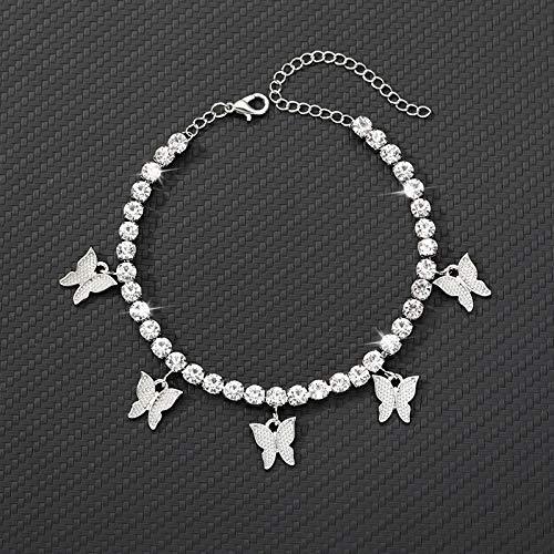 ZBXCVZH Tobillera de oro con cristales de estrás y mariposa, para mujer, sandalias y pulseras de pie de mujer, joyería para mujer (color de metal: circonita blanca plateada)