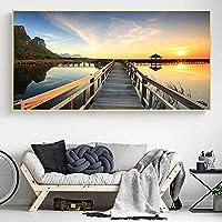 キャンバスプリント木製橋日没湖風景壁アートポスターリビングルームの家の装飾絵画の写真-70x120cmフレームなし