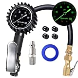 AstroAI Upgraded 100 PSI Tire Inflator with Pressure Gauge, Heavy Duty with Large 2' Easy Read Glow Dial, Air Chuck, Quick Connect Coupler and Rubber Hose Compressor Accessories