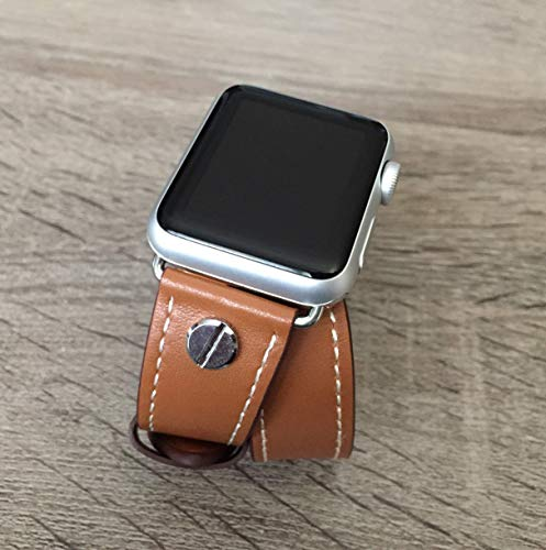 Brown Double Wrap Vegan Leather Band For Apple Watch 38mm 40mm 42mm 44mm Series 6 5 4 3 2 1 Handmade Eco Friendly Strap iWatch Bracelet Two Silver Metal Jewelry Rivets Fashion iWatch Band