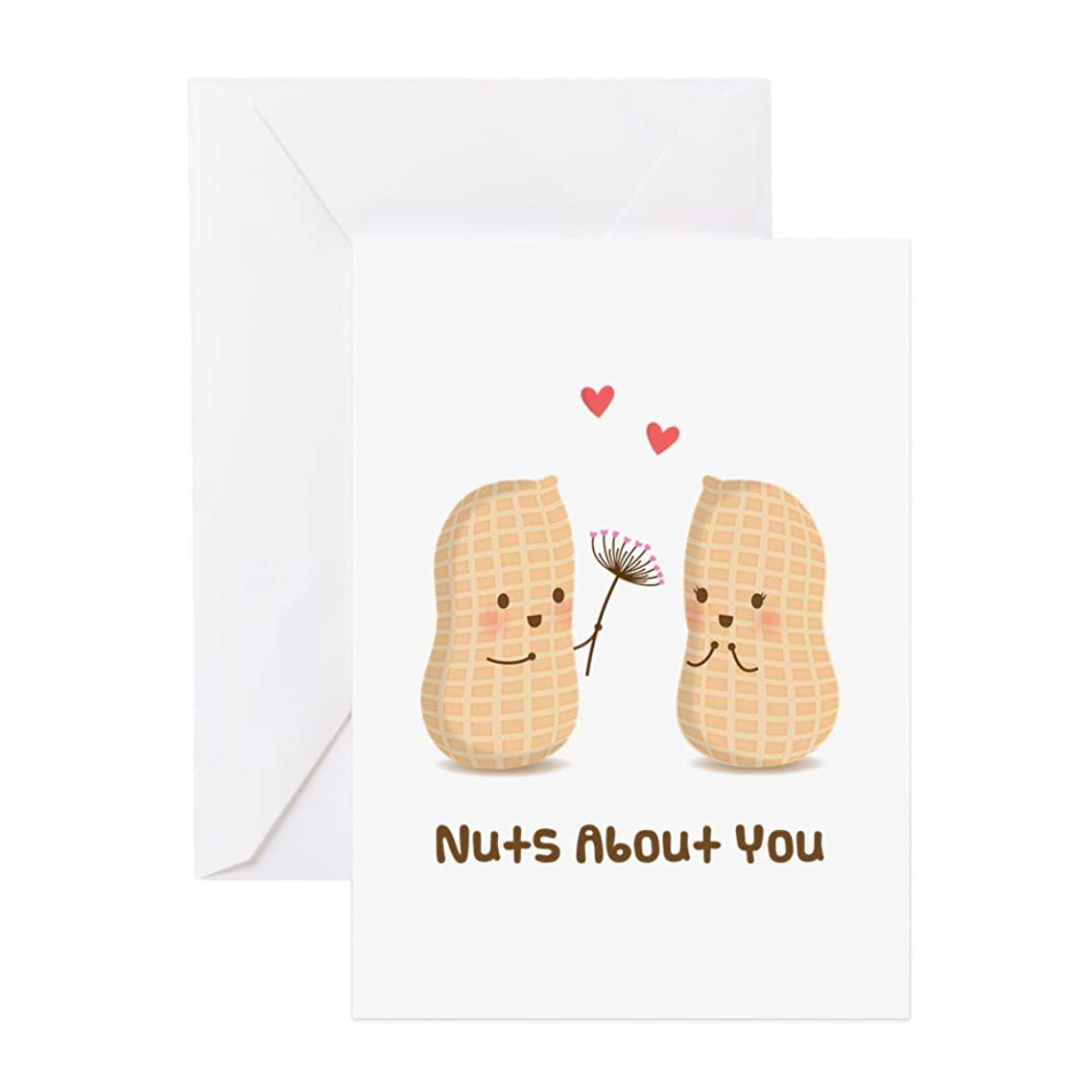 CafePress Cute Peanuts Nuts About You Love Humor Greeting Ca Greeting Card, Note Card, Birthday Card, Blank Inside Glossy