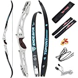 66/68/70 Inch Archery Competition Athletic Bow Takedown Shooting Recurve Bow 25' ILF Metal Bow Riser Right Handed with Bow Stringer Tool for Adult,Youth,Teens (White, 68/44lbs)