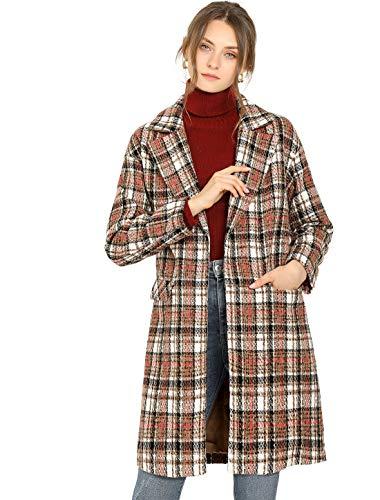 Allegra K Abrigo con Cinturón Cárdigan De Cuadros Solapa De Muesca Frente Abierto Gabardina Ropa para Mujer Caqui XL
