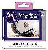 Threaders Zips On Rollo Cremalleras Continuas 5M con 10 Deslizadores para Proyectos de Costura Gris, poliéster, 10.2 x 5.4 x 10.2 cm
