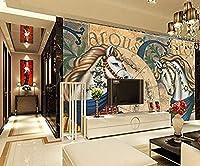 カスタマイズされた3D馬の壁紙ヨーロッパの古典的な馬のリビングルームのテレビの背景の壁紙400cmx280cm