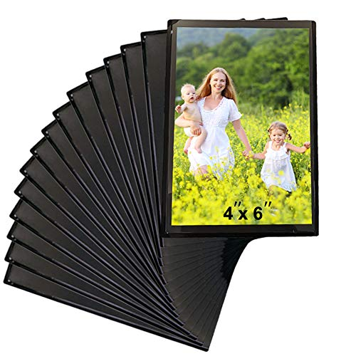 Sooyee 15 Pack Magnet Photo Frame Refrigerator 4X6,Magnetic Picture Holder, Magnetic Picture Frame Fridge(Black)