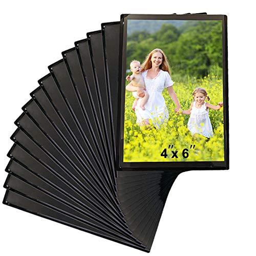 Sooyee 15 Pack Magnet Photo Frame Refrigerator 2.5X3.5,Magnetic Picture Holder, Magnetic Picture Frame Fridge(Black)