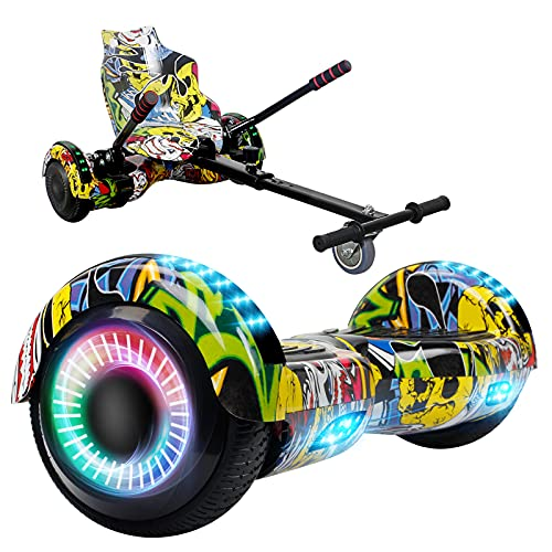 SISGAD Hoverboard Go Kart, Hoverboards with Seat 6.5' Self Balancing Electric Scooter Hoverkart with Bluetooth and LED Lights, Hoverboard Go Kart Bundle for Kids Gift
