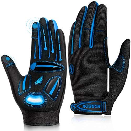 LUROON Herren Damen Touchscreen Fahrradhandschuhe Anti-Rutsch Sport Handschuhe Gel Gepolstert Stoßdämpfende Handschuhe zum Fitness Camping Laufen Wandern Radfahren Joggen Skifahren (Blau, L)